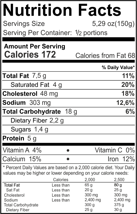 Mushrooms Lasagna Nutrition Facts