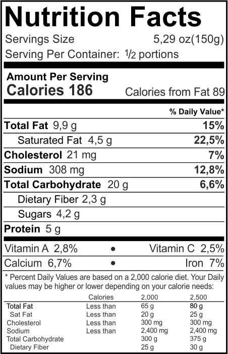 Vegetarian Lasagna Nutrition Facts